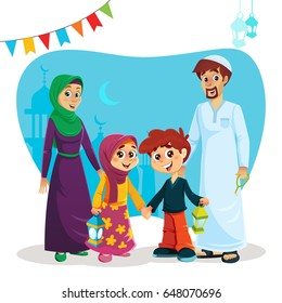 Happy Muslim Family of Parents and Children with Ramadan Icons