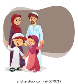 Happy Muslim Family of Parents and Children