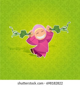 Happy Muslim Girl Celebrating Hari Raya Aidilfitri with Firecracker. Celebration of Breaking Fast(Puasa).Vector Illustration. Maaf Zahir and Batin