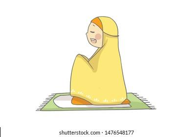 happy muslim girl pray while sitting on a prayer rug kid cartoon character premium vector