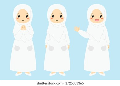 Happy Muslim girl in white dress and hijab, smiling and waving hand, isolated in blue background. Muslim kids character vector set.