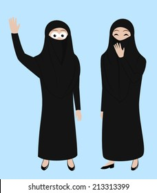 Happy Muslim girls wearing burka