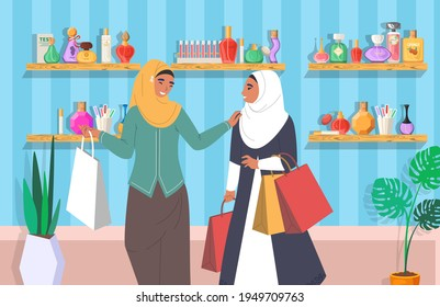 Happy muslim women in perfume store, flat vector illustration. Arab girls in traditional clothing, hijab with shopping bags. Perfumery, department store interior with shelves full of perfume bottles.