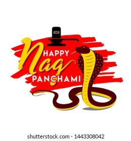 Happy Nag Panchami Concept, Template, Banner, Logo Design, Icon, Poster, Label, Web Header, Background, Mnemonic. Indian Snake Festival Celebration. Vector, Illustration