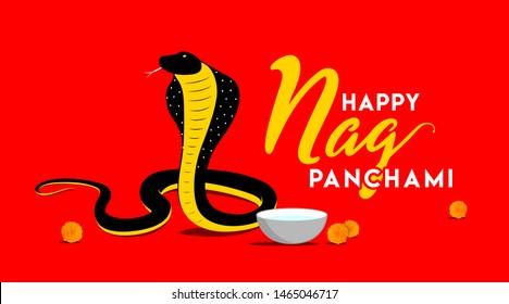 Happy Nag Panchami Concept, Template, Banner, Logo Design, Icon, Poster, Label, Web Header, Background, Mnemonic. Indian Snake Festival Celebration on red background. Vector, Illustration
