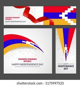 Happy Nagorno Karabakh Republic independence day Banner and Background Set