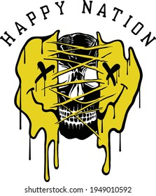 Happy nation slogan print design with ripped melting emoji and a skull illustration in street style