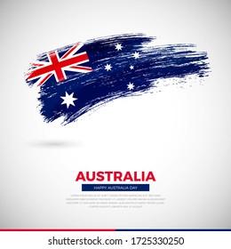 Happy national day of Australia country. Creative grunge brush of Australia flag illustration