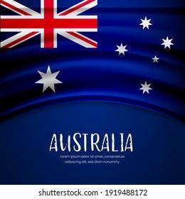 Happy national day of Australia with stylish wavy flag background