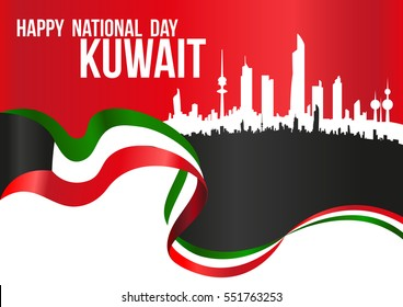 Happy National Day Kuwait - Flag And City Silhouette Skyline Horizontal Poster