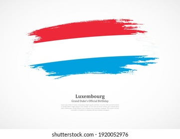 Happy national day of Luxembourg with national flag on grunge texture