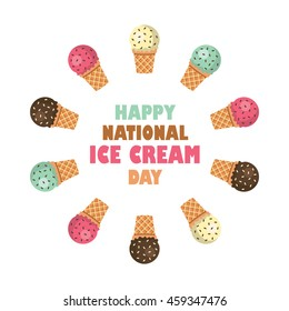 happy national ice cream day vector illustration in flat style