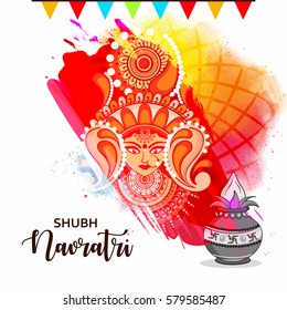 Happy Navratri, Abstract Design with Maa Durga face and Kalash on grungy decorative background.