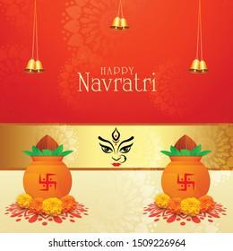 Happy Navratri  Beautiful  Maa Durga face with creative celebration card background