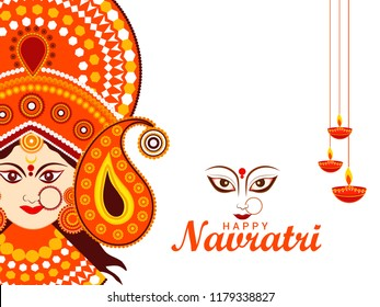 Happy Navratri Card Background With Beautiful Maa Durga Face..