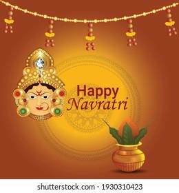 Happy navratri celebration with traditional kalash with goddess durga