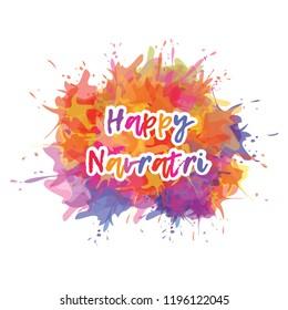 Happy Navratri festival background template design with colorful watercolor splash. Vector Illustration
