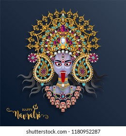 Happy navratri festival card with gold With Beautiful goddess Durga Puja Face and crystals on paper color Background.