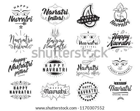 festival of india vector typography set for banner logo design