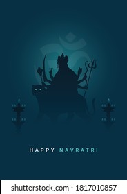 Happy Navratri, Garba, Durga Puja, Navami Minimal Poster-Vector