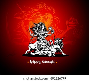 Happy navratri icon, godess, good win over sin, red background, line, lord, puja, fast, celebration, vector illustration