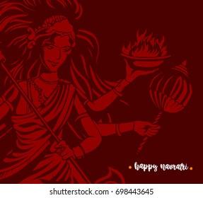 Happy navratri icon, godess, worship, festival, hindu religion, celebration, vector illustration