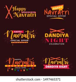 Happy Navratri. Indian festival celebration Vector typography set for banner, logo designetc .