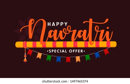 Happy Navratri. Indian festival celebration Vector typography set for banner, logo designetc .