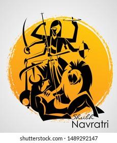 Happy Navratri, Vector Illustration based on Beautiful background with Maa Durga