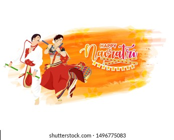 Happy Navratri, Vector Illustration based on Beautiful grungy background with couple dancing garba with dandiya.