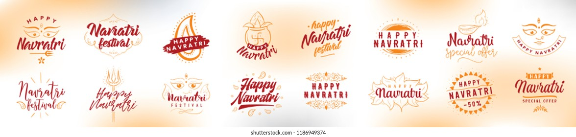 Happy Navratri. Vector typography set for banner, logo design. Festival of India.