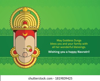 Happy Navratri wishes poster designed with Minimalist Style Goddess Durga Face along with traditional Indian Design border background.