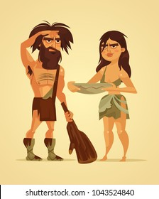 Happy neanderthals man and woman couple. Vector flat cartoon illustration