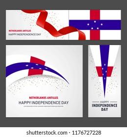 Happy Netherlands Antilles independence day Banner and Background Set