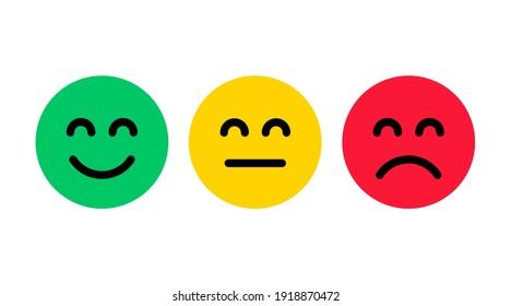 Happy, neutral and sad emoticon icon. Icon set of vector illustrations