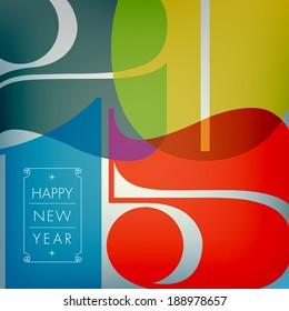 Happy new 2015 year. Seasons Greetings. Colorful design. Vector EPS 10 illustration.