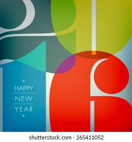 Happy new 2016 year. Seasons Greetings. Colorful design. Vector illustration and photo image available.