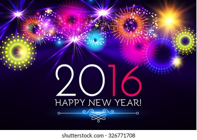 Happy New 2016 Year. Seasons greetings, colorful fireworks design. Vector illustration