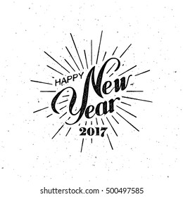 Happy New 2017 Year. Holiday Vector Illustration With Lettering Composition with burst