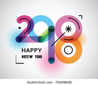 happy new 2018  illustration with  color numbers and black line
