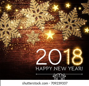Happy New 2018 Year Background with Shining Gold Textured Snowflakes on Wood Texture. Vector illustration