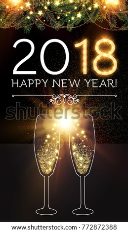 happy new 2018 year and christmas design template with champagne glasses gold effects fir