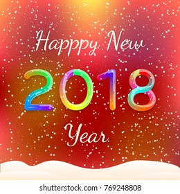 Happy New 2018 Year. Colorful Greeting Card. Festive Background, Banner, Flyer. Vector Illustration.