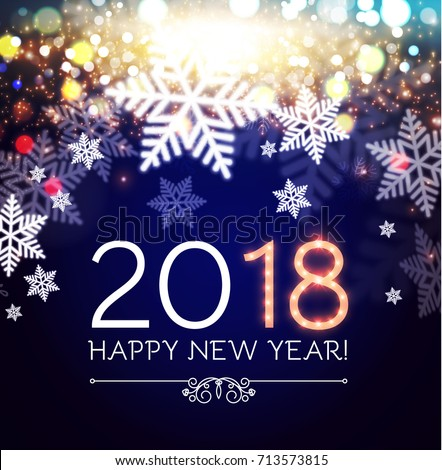 happy new 2018 year flyer template lights background with bokeh effect and snowflakes