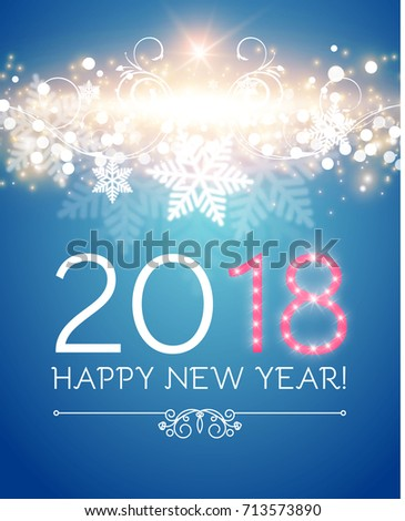 happy new 2018 year flyer template stock vector royalty free