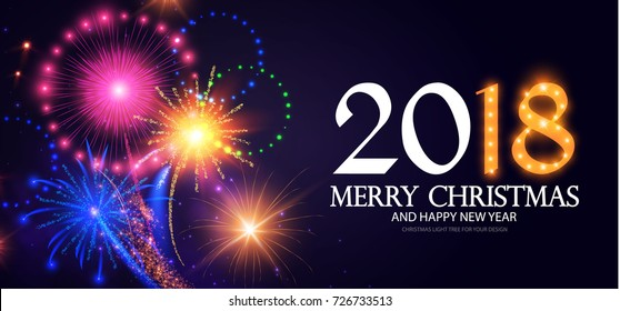 Happy New 2018 Year! Lights Background with Bokeh Effect and Fireworks. Vector illustration