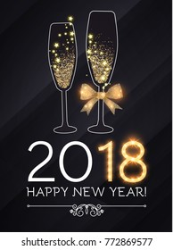 happy new 2018 year and merry christmas design template with champagne glasses gold effects