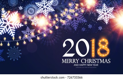 Happy New 2018 Year Poster and Flyer Template. Lights, Snowflakes and Fireworks Design. Vector illustration