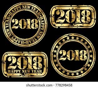 Happy new 2018 year set, grunge goldenr stamp, vector illustration