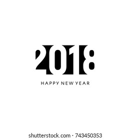 Happy new 2018 year sign. Black negative space vector logo.